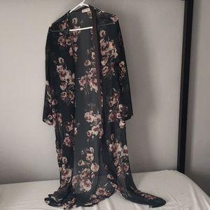 Floral Kimono Open Front Tunic
